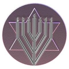 14 Karat Pink and 14 Karat White Gold Judaica Art Signet Ring