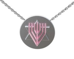 14 Karat Pink and Sterling Silver Judaica Art Pendant Necklace