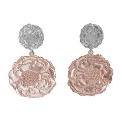 14 Karat Pink and White Gold Marigold Flower Earrings