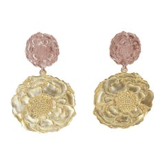 14 Karat Pink and Yellow Gold Marigold Flower Earrings