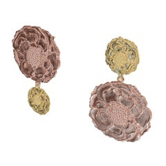 14 Karat Pink and Yellow Gold Marigold Flower Earrings Mixmatch