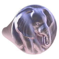 14 Karat Pink Gold Elephant Signet Ring