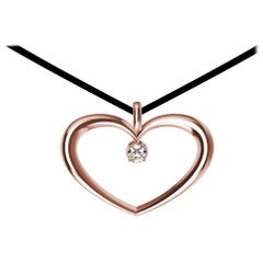 14 Karat Pink Gold and GIA Diamond Polished Tapered Heart Necklace