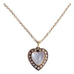 14 Karat Pink Gold and Natural Pearl Moonstone Necklace