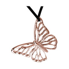 14 Karat Pink Gold Butterfly Necklace on Suede