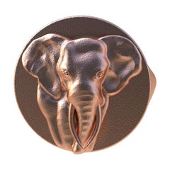 10 Karat Pink Gold Elephant Tusks Signet Ring