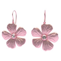 14 Karat Pink Gold GIA Diamond Periwinkle Flower Earrings