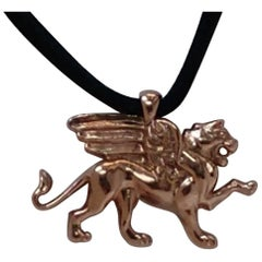 14 Karat Pink Gold Griffin Pendant Necklace for Women