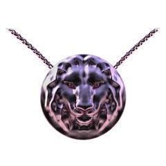 """14 Karat Pink Gold Women's 18 """" Chain Lion Pendant Necklace"""