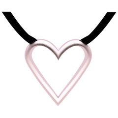 14 Karat Pink Gold Open Heart Pendant Necklaces