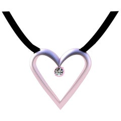 14 Karat Pink Gold Open Heart with GIA Diamond Pendant Necklace