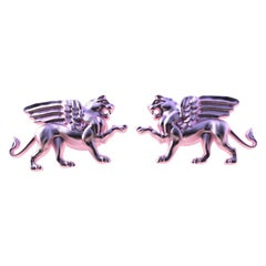 18 Karat Pink Gold Winged Griffin Cufflinks
