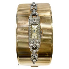 14 Karat Platinum Diamond Bracelet Watch