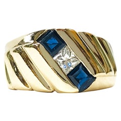 14 Karat Princess Cut Diamond Blue Sapphire Pinky Ring