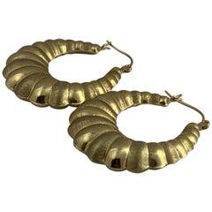 14 Karat Puff Hoop Earring
