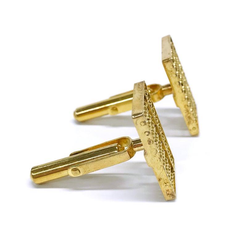 Retro 14 Karat Rectangular Abacus Cufflinks For Sale