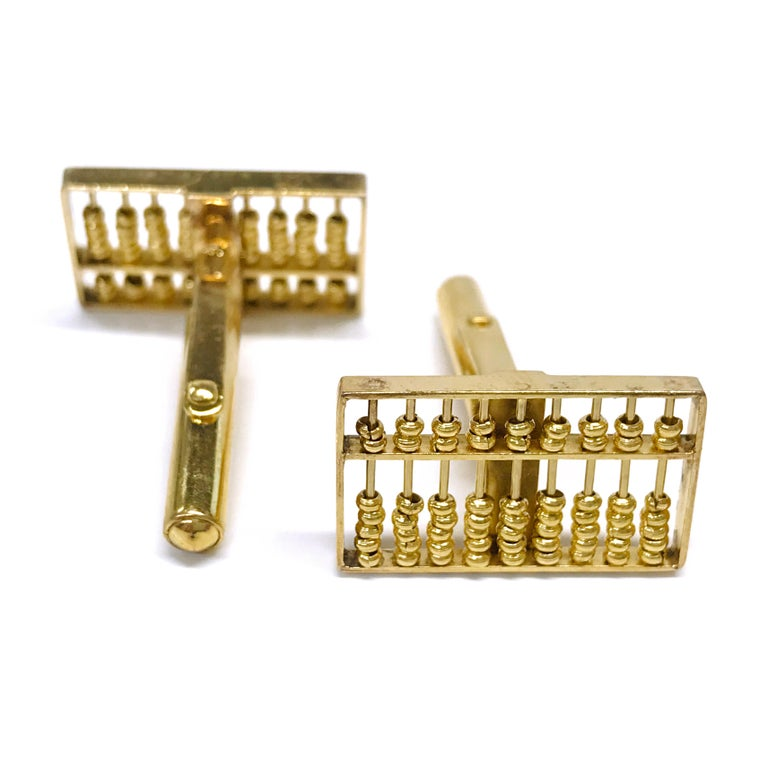 14 Karat Rectangular Abacus Cufflinks In Good Condition For Sale In Palm Desert, CA