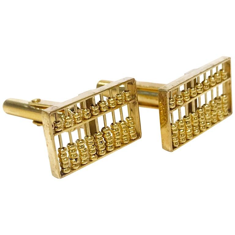 14 Karat Rectangular Abacus Cufflinks For Sale