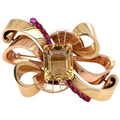 14 Karat Retro Green and Rose Gold Brooch with 49 Carat Citrine and Rubies 41.6g