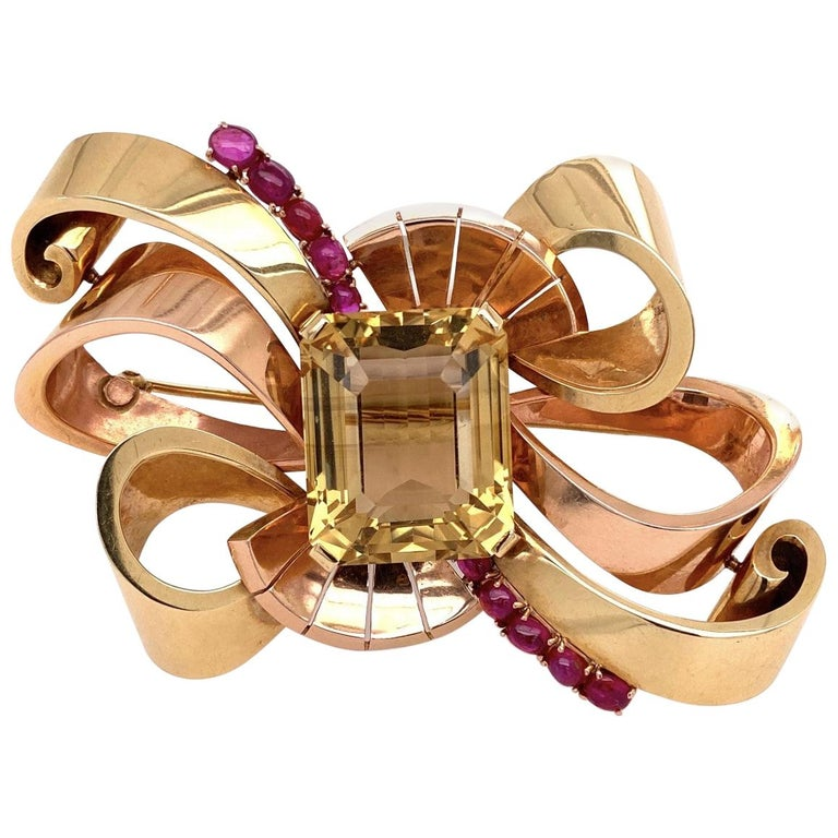 14 Karat Retro Green and Rose Gold Brooch with 49 Carat Citrine and Rubies 41.6g For Sale