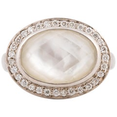 14 Karat Rock Crystal Mother-of-Pearl Diamond Ring