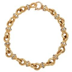 14 Karat Rondel Diamond Bracelet