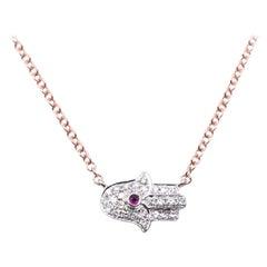 14 Karat Rose and White Gold Diamond Hand Necklace