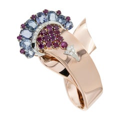 14 Karat Rose and White Gold Diamond, Ruby and Sapphire Movado Watch / Brooch