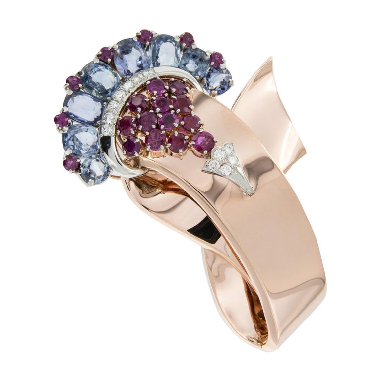 14 Karat Rose and White Gold Diamond, Ruby and Sapphire Movado Watch / Brooch For Sale
