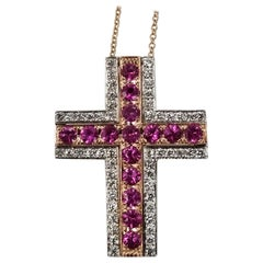 14 Karat Rose and White Gold Ruby and Diamond Cross
