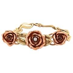 14 Karat Rose and Yellow Gold Diamond Rose Bracelet