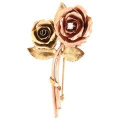 14 Karat Rose and Yellow Gold Diamond Rose Brooch