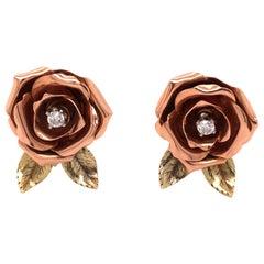 14 Karat Rose and Yellow Gold Diamond Rose Earrings