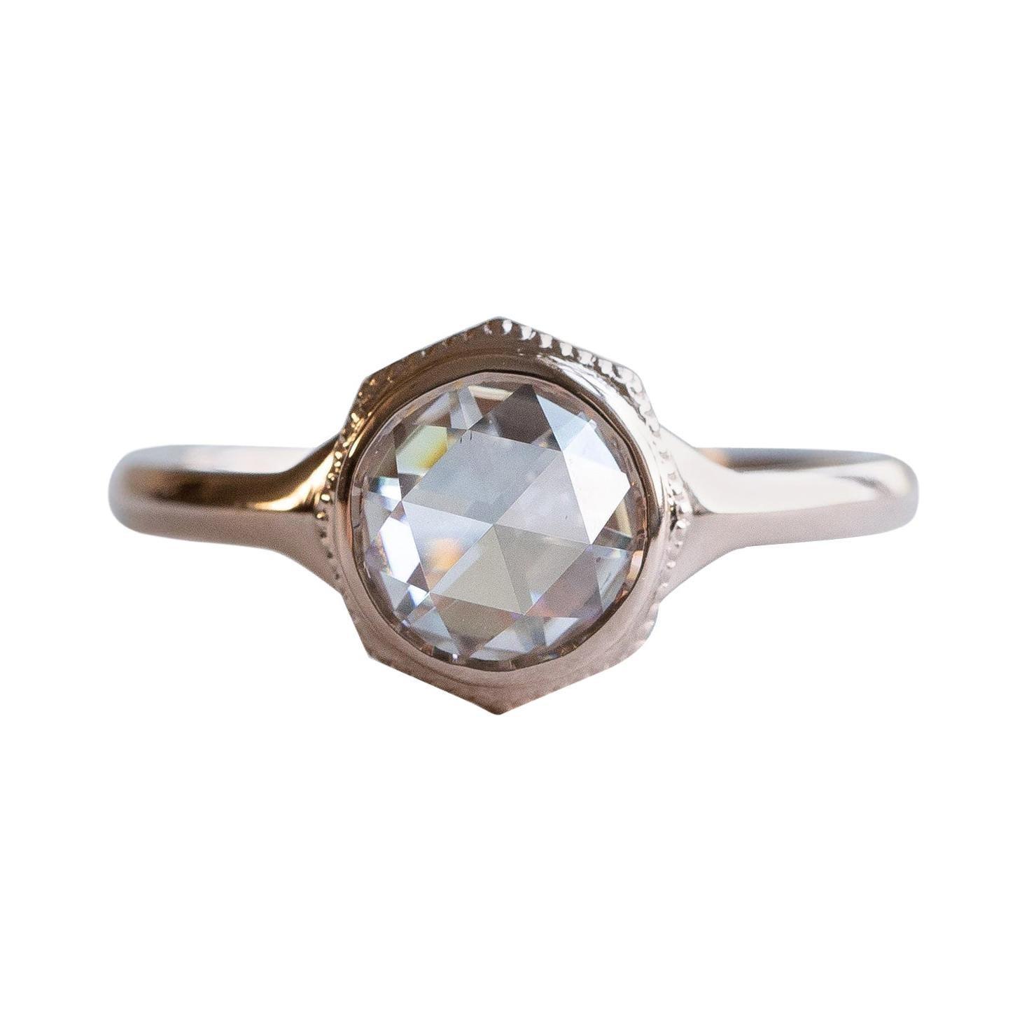14 Karat Rose Cut .80 Carat Diamond Ring, Rose Gold Ring, Diamond Rose Cut