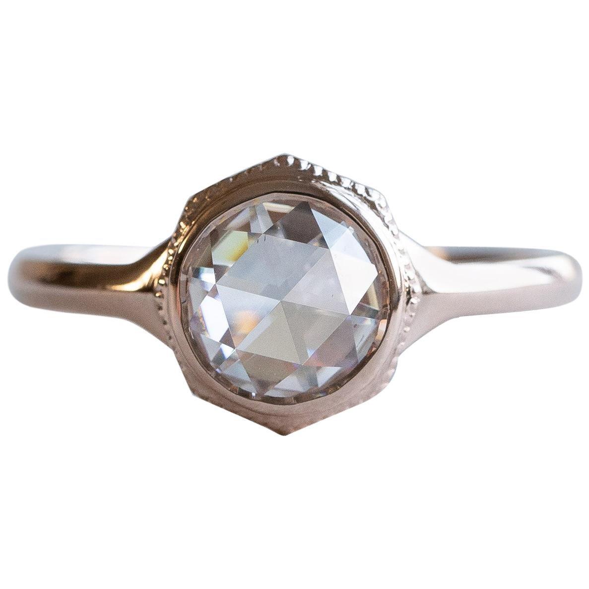 14 Karat Rose Cut Diamond Ring, Rose Gold Ring, Diamond Rose Cut