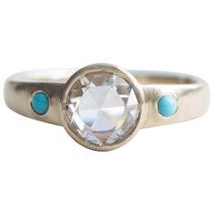 14 Karat Rose Cut Diamond Ring, Turquoise Ring, Yellow Gold Ring, Boho Ring