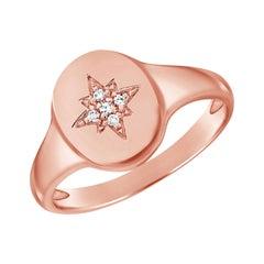 14 Karat Rose Gold 0.02 Carat Diamond Pink Signet Ring