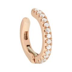 14 Karat Rose Gold 0.04 Carat Round Diamond Cuff Earring