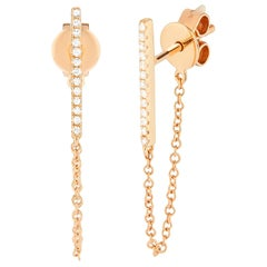 14 Karat Rose Gold 0.077 Carat Round Diamond Chain Hoop Earrings