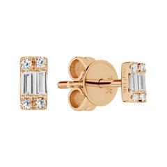 14 Karat Rose Gold 0.08 Carat Cluster Baguette Diamond Earrings