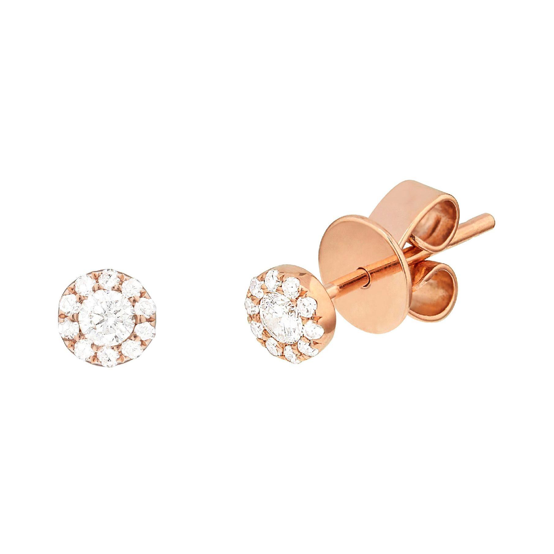 14 Karat Rose Gold 0.115 Carat Diamond Cluster Earrings