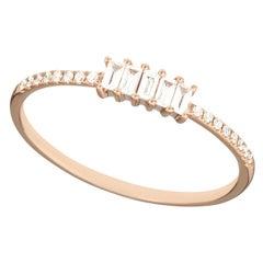 14 Karat Rose Gold 0.145 Carat Round and Baguette Diamond Band Ring