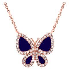 14 Karat Rose Gold 0.15 Carat Diamond and Lapis Butterfly Necklace
