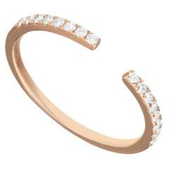 14 Karat Rose Gold 0.155 Carat Round Diamond Open Band Ring