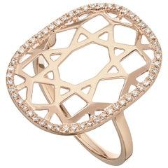 14 Karat Rose Gold 0.16 Carat Round Diamond 1920s Inspired Plaque Ring
