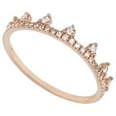 14 Karat Rose Gold 0.19 Carat Round Diamond Dotted Tiara Style Ring