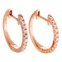 14 Karat Rose Gold 0.20 Carat Diamond Hoop Earrings