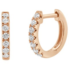 14 Karat Rose Gold 0.20 Carat Diamond Huggie Earrings