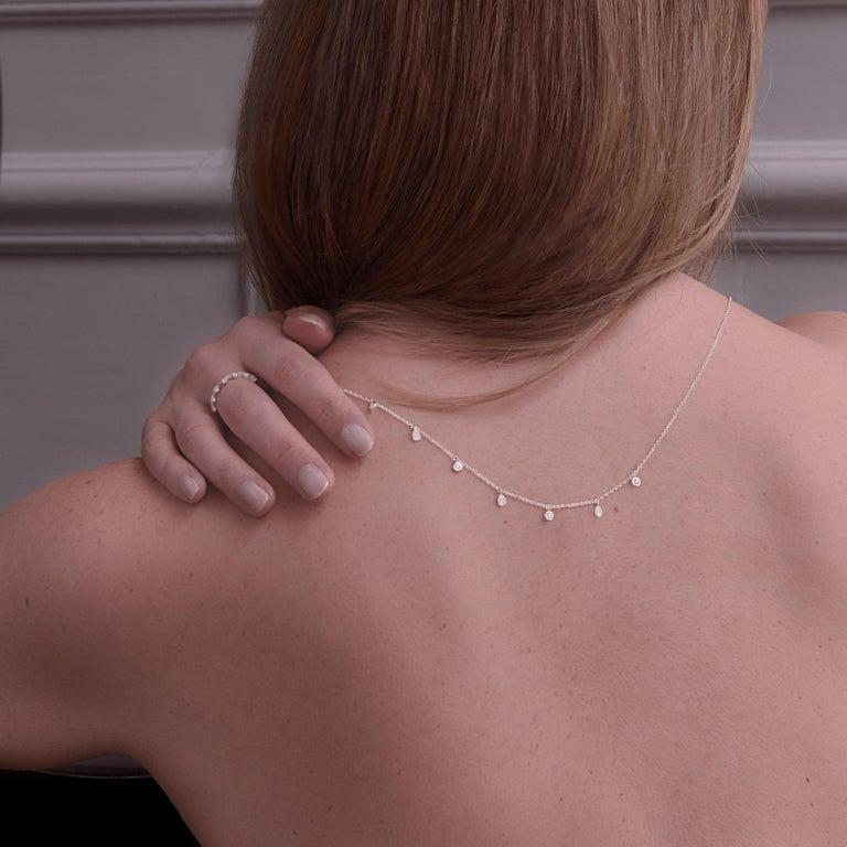 Single Cut 14 Karat Rose Gold 0.217 Carat Round Diamond and Pear-Shape Pave Chain Pendant For Sale