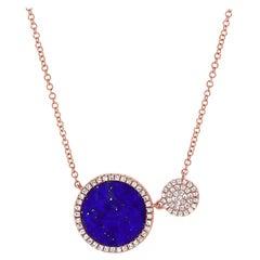 14 Karat Rose Gold 0.22 Carat Diamond & Lapis Pendant Necklace